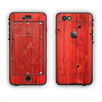 The Red Highlighted Wooden Planks Apple iPhone 6 LifeProof Nuud Case Skin Set