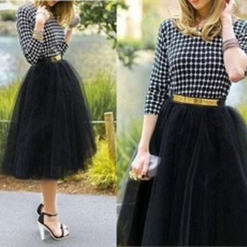 ICIK0OQ Plus size Fashion Tulle Skirts for Women Midi Black Fluffy Puff Highwaisted Unique Bottoms Skirt Clothes [8824203207]