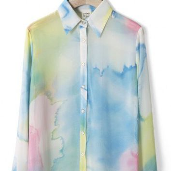 Multi-Color Dyed Chiffon Shirt
