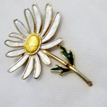 Vintage White, Gold, Enamel Daisy Brooch, Pin, Recycled, Altered, Repaired, Costume Jewelry Brooch, c. 1960's
