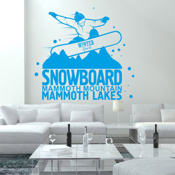 I194 Wall Decal Vinyl Sticker Art Decor Design board snowboard winter sport downhill mountain adrenaline extreme snow Living Room Bedroom