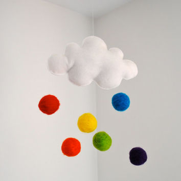 Cloud Mobile ORGANIC Wool- Rainbow Baby Mobile - Eco Friendly Baby Decor - Home Decor