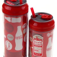 Coca Cola Travel Cups Set 2 Coke Bottles Caps Pattern 12 16 oz Straw Double Wall