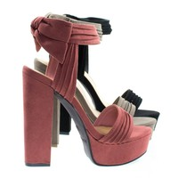 Tournament18m By Bamboo, Chunky Block Heel Sandal On Platform w Ruffle & Rear Bow Décor