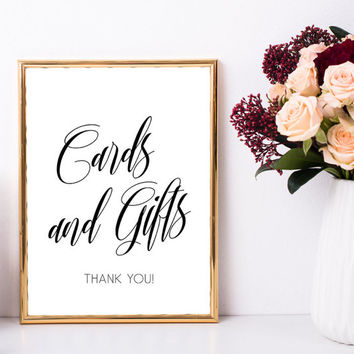 Wedding gift table sign, Cards and gifts sign, Simple elegant wedding decor, Simple wedding table decorations, Simple wedding decorations