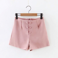High Waist Double-Breasted Shorts