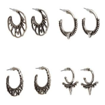 Silver Boho Mini Hoop Earrings - 4 Pack by Charlotte Russe