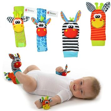 Sozzy Lovely Cartoon Zebra New Baby Infant Soft Socks Wrist Rattle Set Educational Best Newborn Gift Toys for Children Boy Girl