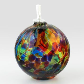 Rainbow - Hand Blown Glass Round Oil Lamp by Glass Eye Studio Containing Volcanic Ash from the 1980 Eruption of Mount St. Helens