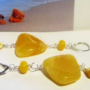 100% Natural Baltic Genuine Amber Earrings 9.2 gr. gift yellow egg yolk beads Silver 925 clasp for adult