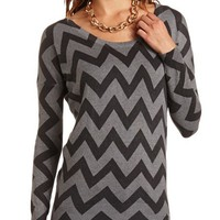 CHEVRON STRIPE DOLMAN SWEATER TUNIC
