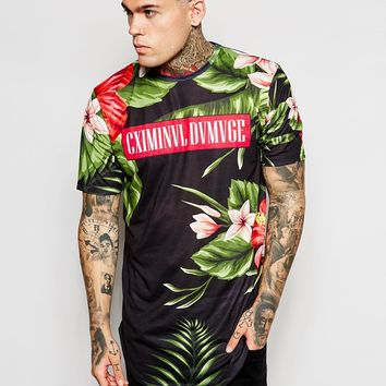 Criminal Damage Longline T-Shirt With Tropical Print