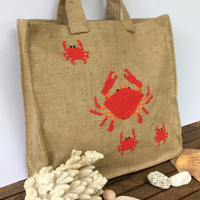 Summer jute tote bag,cross stitched  with cute red crabs,  handmade, beach tote bag, handmade tote bag, Casual Tote Bag