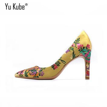 Yu Kube Jacquard Women Pumps 2017 New Design Yellow High Heels Dress Pump Middle Heels Women's Shoes Embroider Stilett