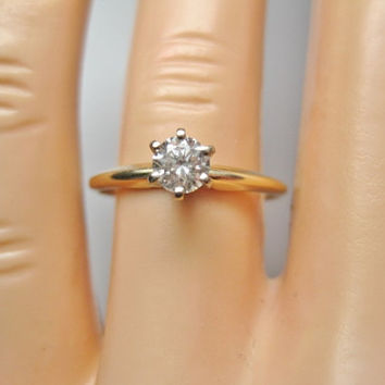 Diamond Solitaire Engagement Ring in 14K  Size 7 - 1/3 carat - Available in Yellow & White Gold