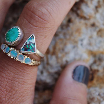 Open, Double Bezel American Mined Turquoise and Boulder Opal Ring // Sterling Silver
