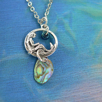 mermaid necklace mermaid jewelry abalone pendant nautical shell necklace fantasy cosplay