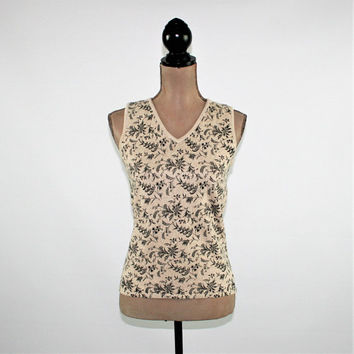 Sleeveless Top Women Summer Top Linen Cotton Knit Top XS Beige Black Print Knit Sweater Vest Ann Taylor Vintage Clothing Womens Clothing