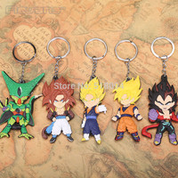 Dragon Ball Z Son Goku Vegeta PVC Figure Keychains Pendants Toys 5pcs/set