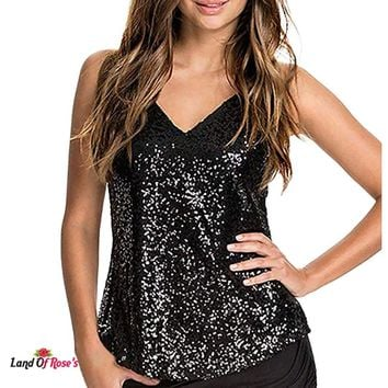 Plus-Size Camisole Tank Tops Sleeveless Sequined Strappy V Neck Tank Top