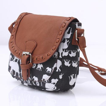 Canvas Elephant Crossbody Shoulder Bag