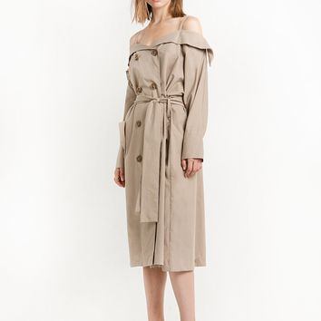 Trench Off The Shoulder Dress Jacket