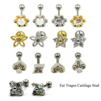 1pc Flower Opal CZ Gem Tragus Cartilage Barbell Top Upper Ear Stud Earrings Fashion Ear Labret Body Piercing Jewelry  16 Gauge