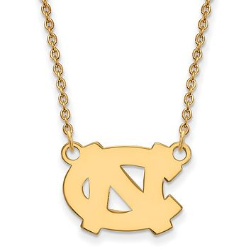NCAA 14k Gold Plated Silver North Carolina Small 'NC' Pendant Necklace