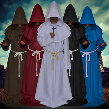 Medieval Cloak Robe Gown Renaissance Monk Costume Cowl Friar Clothing Priest Medieval Halloween Cosplay Costume For Women Men
