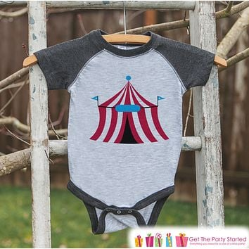 Circus Birthday Outfit - Kids Circus Tent Shirt or Onepiece - Boy or Girl, Youth, Toddler, Birthday Outfit - Grey Baseball Tee - Carnival