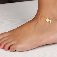 """Pearl anklet, gold clover bracelet, pearl ankle bracelet, four leaf clover bracelet, gold filled anklet, bridesmaid gift, """"Abarbaree"""""""