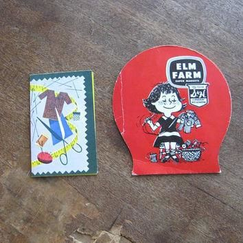 Elm Farm Insurance Vintage 1950s Promo Needle Book with Little Girl Sewing + Supreme F