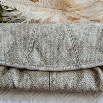 Miche Beige Faux Snakeskin Clutch Wallet