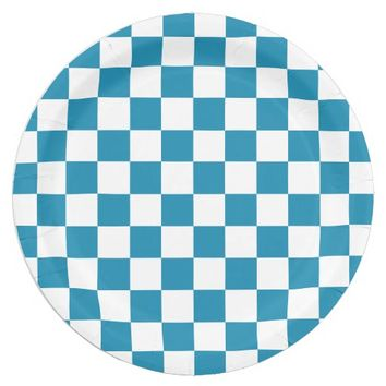 Teal Blue and White Checkerboard Pattern Paper Plate