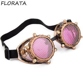 FLORATA Vintage Victorian Golden Goggles Retro Steampunk Unisex   Glasses Welding Cosplay Sunglasses Cool Eyewear