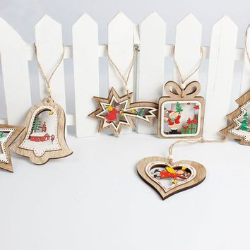 Hanging Wooden Christmas Pendant Ornament DIY Carving Crafts New Year Gifts Adornment Christmas Tree