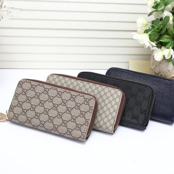 """Gucci"" Unisex Purse Retro Fashion Classic Letter Print Double Zip Long Section Multifunction Clutch Wallet"