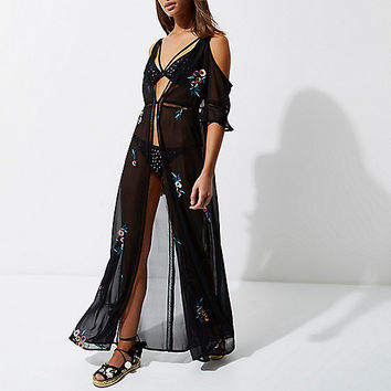 Black floral cold shoulder maxi beach dress - caftans / cover-ups - swimwear / beachwear - women