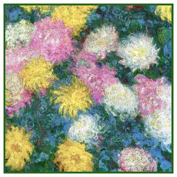 Chrysanthemum Detail #2 inspired by Claude Monet's impressionist painting Counted Cross Stitch Pattern