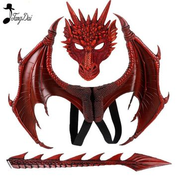 Animal Cospty Dragon Costume Purim Christmas Gift Carnival Party Kids Cosplay Set Wing and Tail Children's day faucet Costume