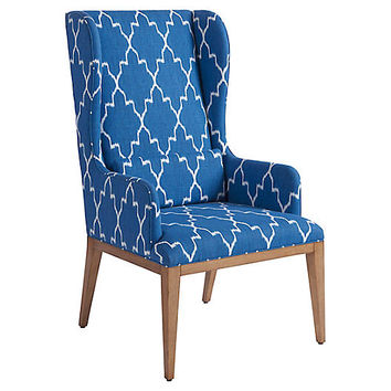 Seacliff Wingback Armchair, Blue/White - Barclay Butera - Brands | One Kings Lane