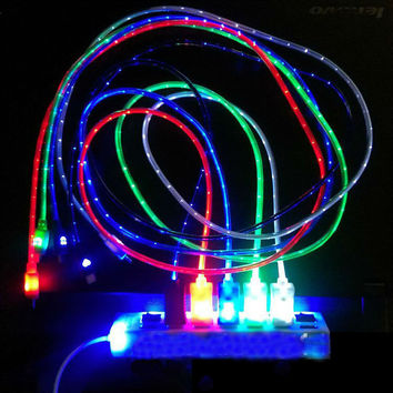 5Colors 1M LED Light Durable Micro USB Cable Charger Data Sync Cord For Samsung Galaxy S3 S4 S5 HTC Android phone