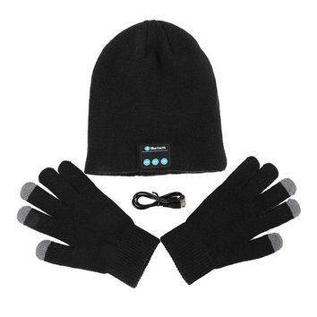 Winter Warm Soft Smart Headset Bluetooth Wireless Beanies Hats + Gloves Set Women Men Unisex Caps Headphone Speaker