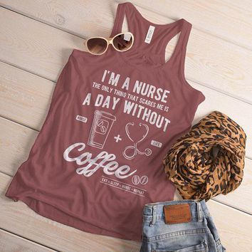 Women's Nurse Flowy Tank Funny Coffee Shirt Day Without Nurses Gift Idea Graphic Tanks Racerback