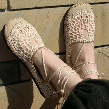 VEGAN Lace up crochet SHOES - Mary Jane - Tan & Beige - CUSTOM made - Hippie boho footwear