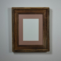 Repurposed wood photo frame 8x10 with 5x7mat