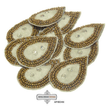 White Beaded Appliques Indian Sari Dress Patches Drop White Appliques 10 Pcs AP/BD/69 Free Shipping