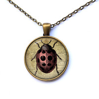 Insect necklace Ladybird jewelry Antique pendant CWAO125-1