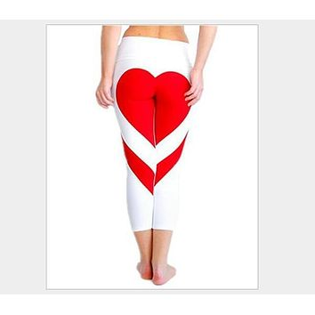 2017 Yoga Pants Women Heart Patchwork Sports Running Tights Leggings Slim Fitness Gym Sexy Push Up Pants Jogging Sport Trousers