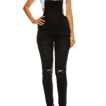 Women's Knee Slit Denim Overalls RJHO915 - KK8G